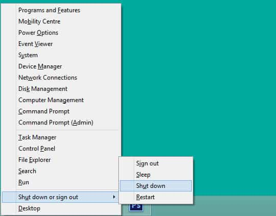 วิธีปิดเครื่องคอมพิวเตอร์สำหรับ Windows 8.1