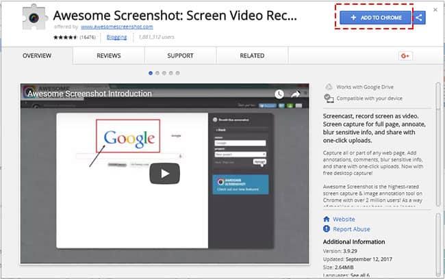 วิธีแคปหน้าจอเว็บไซต์ด้วย Awesome Screenshot สำหรับ Google Chrome