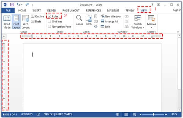 วิธีแสดงไม้บรรทัด (Ruler) ใน Microsoft Word 2013