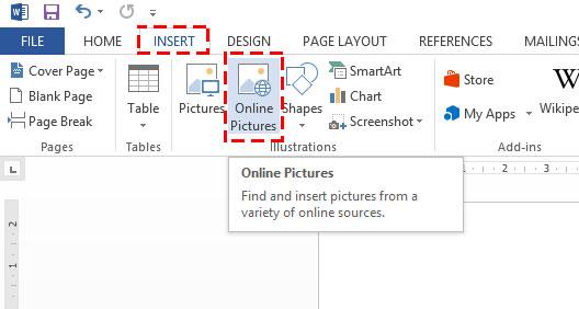 วิธีแทรก (Insert) รูปภาพจากระบบออนไลน์ของ Microsoft Word 2013
