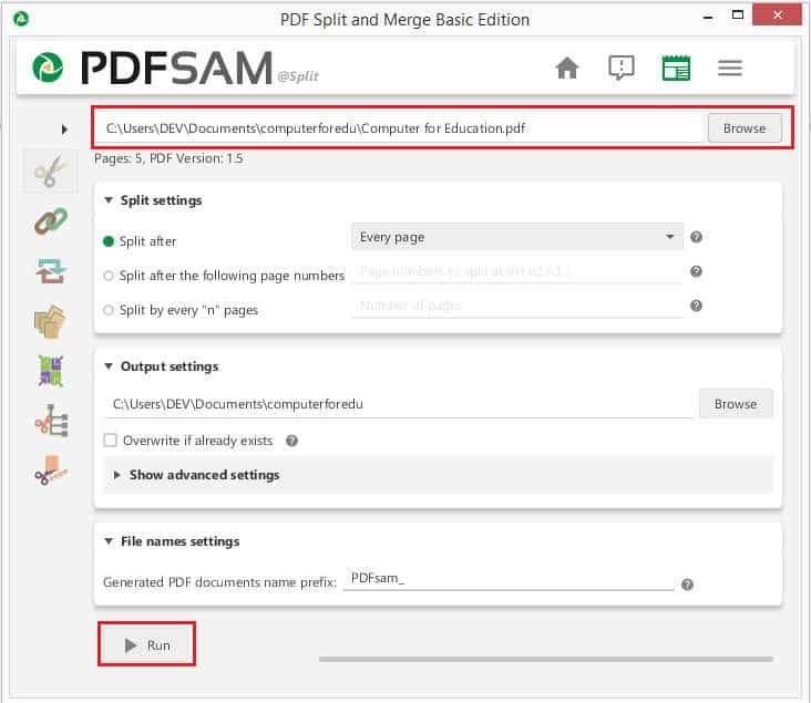 วิธีแยกไฟล์ PDF ด้วยโปรแกรม PDFsam Basic