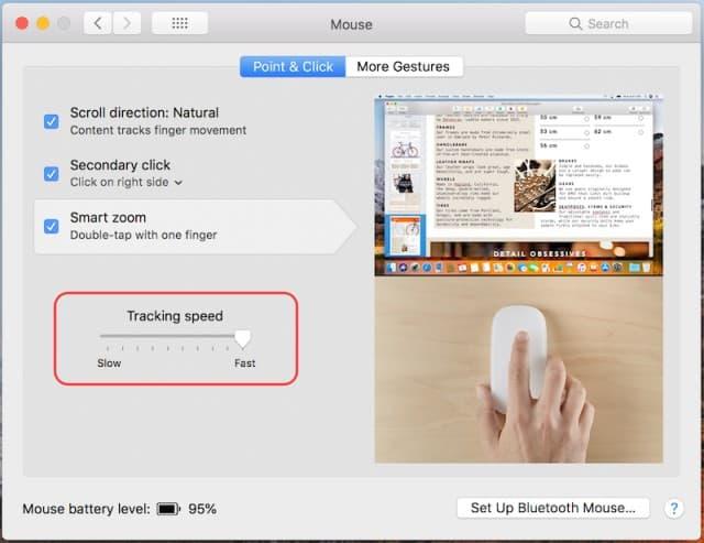 วิธีการตั้งค่าความเร็วการเคลื่อนที่ของเมาส์ใน macOS High Sierra