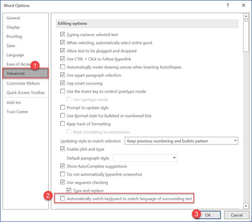 วิธีตั้งค่า Microsoft Office 365 Word ไม่ให้ Keyboard เปลี่ยนภาษาอัตโนมัติ